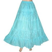 "Indian Fashion Designer Lace Work Cyan Cotton Long Skirt for Womens 39"" $28.99"