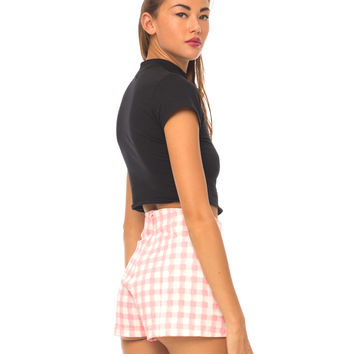 Motel Dixie High Waisted Short in Pink Gingham