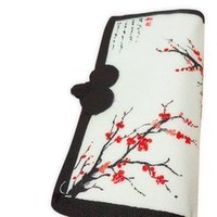Woman's Hand-painted Wintersweet Design China Style National Ethnic Purse Wallet