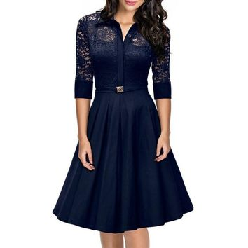 Women Hollow Out 3/4 Sleeve Pleated Lace Dress V Neck Party Dresses