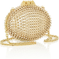 Christian Louboutin | Mina spiked metallic leather clutch  | NET-A-PORTER.COM