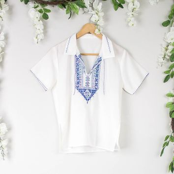 Vintage Mexican Neutral White Blouse