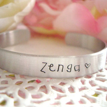 Name Of Your Choice Hand Stamped Cuff Bracelet Made To Order With Child Hand Font