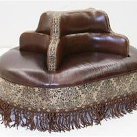 Four seater ottoman - bench in tooled leather, hair hide and twisted leather fringe
