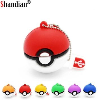 SHANDIAN hot  usb flash drive Pocket Monster/Poke Ball/ Pikachu pen drive 4gb 8gb 16gb 32gb u disk memory stick fashionKawaii Pokemon go  AT_89_9