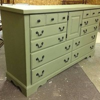 Sage Green Painted Long Low Dresser Chest