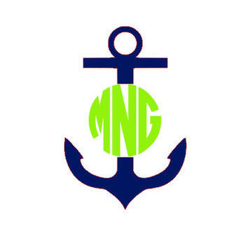New 25 Anchor Monogram Vinyl Decal by CuttinCrazy on Etsy