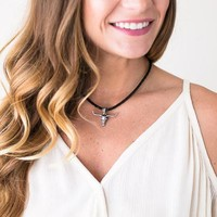Long Horn Black Braid Necklace