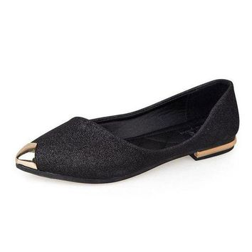 DCCKON3 Womens flatsbling shallow ballet flats for female pointed toe shoes gold black