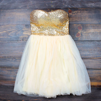 final sale - gold quartz strapless sequin party dress