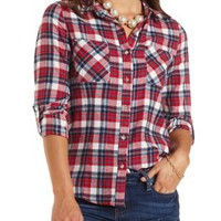 Plaid Flannel Button-Up Top by Charlotte Russe - Red Combo