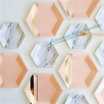 72pcs Hexagon Paper Plates Pastel Pink Marble & Gold Foil Hexagon Small Party Paper Plates for  Baby Shower Birthday Party Decor