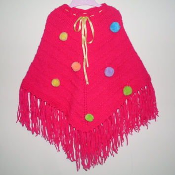 Pink  poncho, knitting baby poncho,  baby shawl, 2- 4 years, fall baby poncho, girl photo prop, spring-summer poncho, multicolor poncho