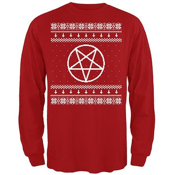 White Satanic Pentagram Ugly Christmas Sweater Red Adult Long Sleeve T-Shirt