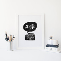 "PRINTABLE Art"" Smile"" Camera Print, Smile Camera Quote,Smile Poster,Camera Digital Art,Watercolor Camera,Home Decor,Dorm Room Decor,Wall Art"