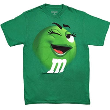 M&M's Candy Character Face T-Shirt - Adult - Green - XL