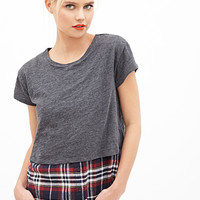FOREVER 21 Plaid Shirttail Tee Charcoal/Navy