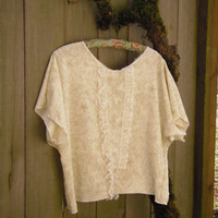 Silky Romantic Blouse/ Eco Batwing Shirt/ Summer by FuriousDesigns