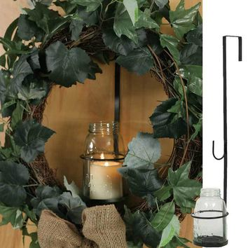 Set of 2 Large Mason Jar Wreath & Candle Holder - Charcoal