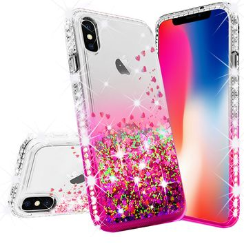 Apple iPhone XR Case Liquid Glitter Phone Case Waterfall Floating Quicksand Bling Sparkle Cute Protective Girls Women Cover for iPhone XR - Hot Pink