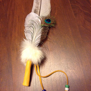 Smudge Feathers peacock goose rabbit fur buckskin