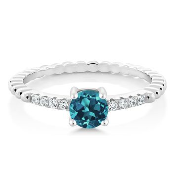 925 Silver London Blue Topaz Ring