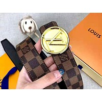 LV new personality letter round buckle men and women models wild belt Gold Buckle