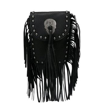 2016 Hot Lady Fringe chain Tassel Messenger Bag Skull pu leather Cross Body black color Rivets Shoulder Bag Women's Handbags