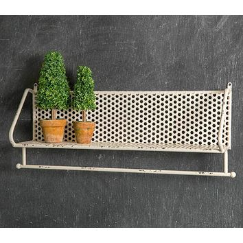 """Country Chic ABBY'S 26"""" Long White Distressed Metal Wall Shelf With Towel Bar"""