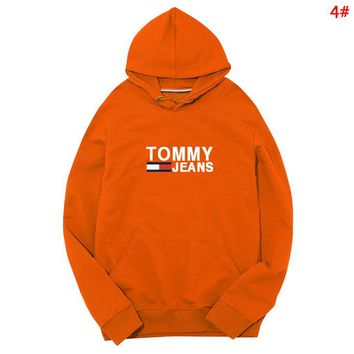 Tommy New fashion letter print couple hooded long sleeve sweater 4#