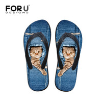 FORUDESIGNS Brand Women Flip flops Cute 3D Cat Print Flat Sandals Denim Blue Summer Beach Slippers Zapatos Mujer Home Flip-Flops