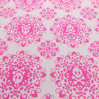 Pink Skull Fabric Damask Fabric Quilting Fabric Craft Fabric Doll Fabric Pillow Fabric Home Decor Accessory Fabric