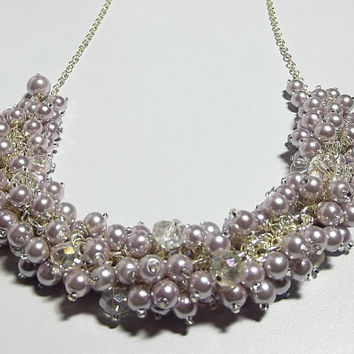 Lilac Lavender Pearls and Crystals Necklace, Chunky Necklace, Gifts for Her, Gifts for Mom, Silver