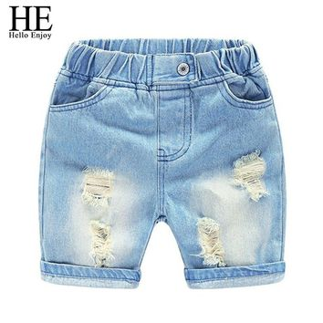 HE Hello Enjoy 2018 kids denim shorts for boys summer casual boy jeans pants cotton ripped denim toddler children denim shorts
