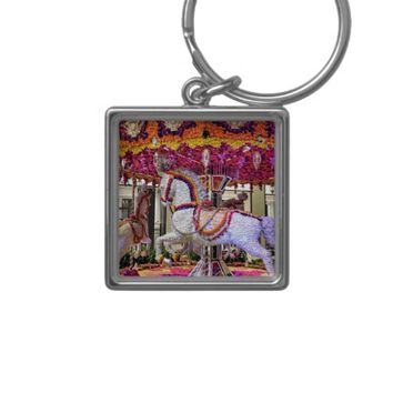 Colorful Merry-Go-Round Design Button Keychain