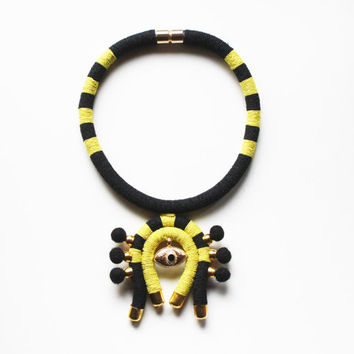 Rope Necklace, Eye of Providence Necklace, Choker Necklace,  Tribal Inspired Necklace, Costume Jewelry, Yellow, Black