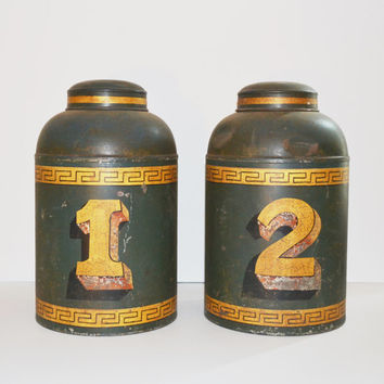 Antique Tea Canisters Tea Caddy Canisters Metal Tea Tin Containers Set of 2 Tea Canisters Green with Gold Greek Keys Design Greek Home Décor