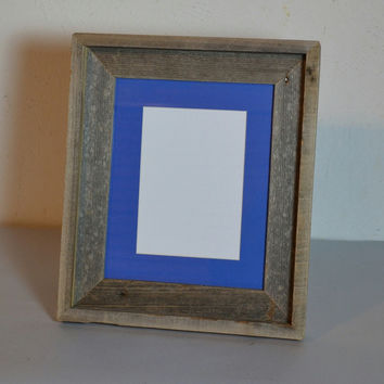 8x10 picture frame for your desktop with blue mat beautiful gray patina.