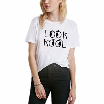 Summer Women LOOK KOOL Print Tee Shirt