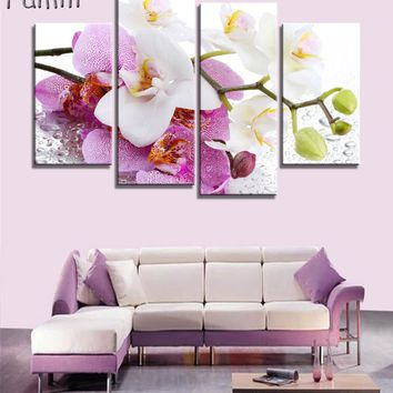 4pcs Print poster canvas Wall Art pink orchids Decoration art oil painting Modular pictures on the wall sitting room(no frame)