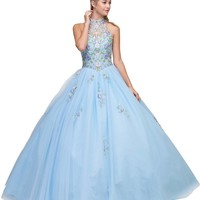 High Neck Embroidered Quinceanera Dress Bahama Blue