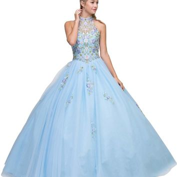 a40c28d3ba5 High Neck Embroidered Quinceanera Dress Bahama Blue