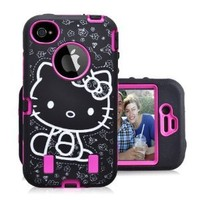 Hello Kitty 3 Piece Dual Layer Hybrid Defender Style Iphone 4/4s Case, COMBO with FREE Dust Plug Metallic Stylus Touch Pen (Pink)