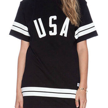 Black Short Sleeve Stripe Trimmed Shirt Dress with USA Graphic Print