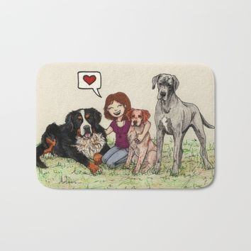 I love dogs Bath Mat by Savousepate