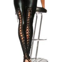 Atomic Black PVC Lace Up Leggings