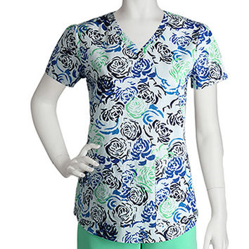 Grey's Anatomy Women's V-Neck Print Scrub Top