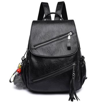 School Backpack 2018 Women Leather Backpacks Large Capacity Female s For Girls Pu Preppy Vintage Ladies Bagpack Sac a Dos Femme AT_48_3
