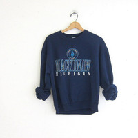 vintage navy blue sweatshirt. Straits of Mackinac / Mackinaw, Michicgan