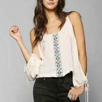 Mono B Friendship Embroidered Blouse- Cream